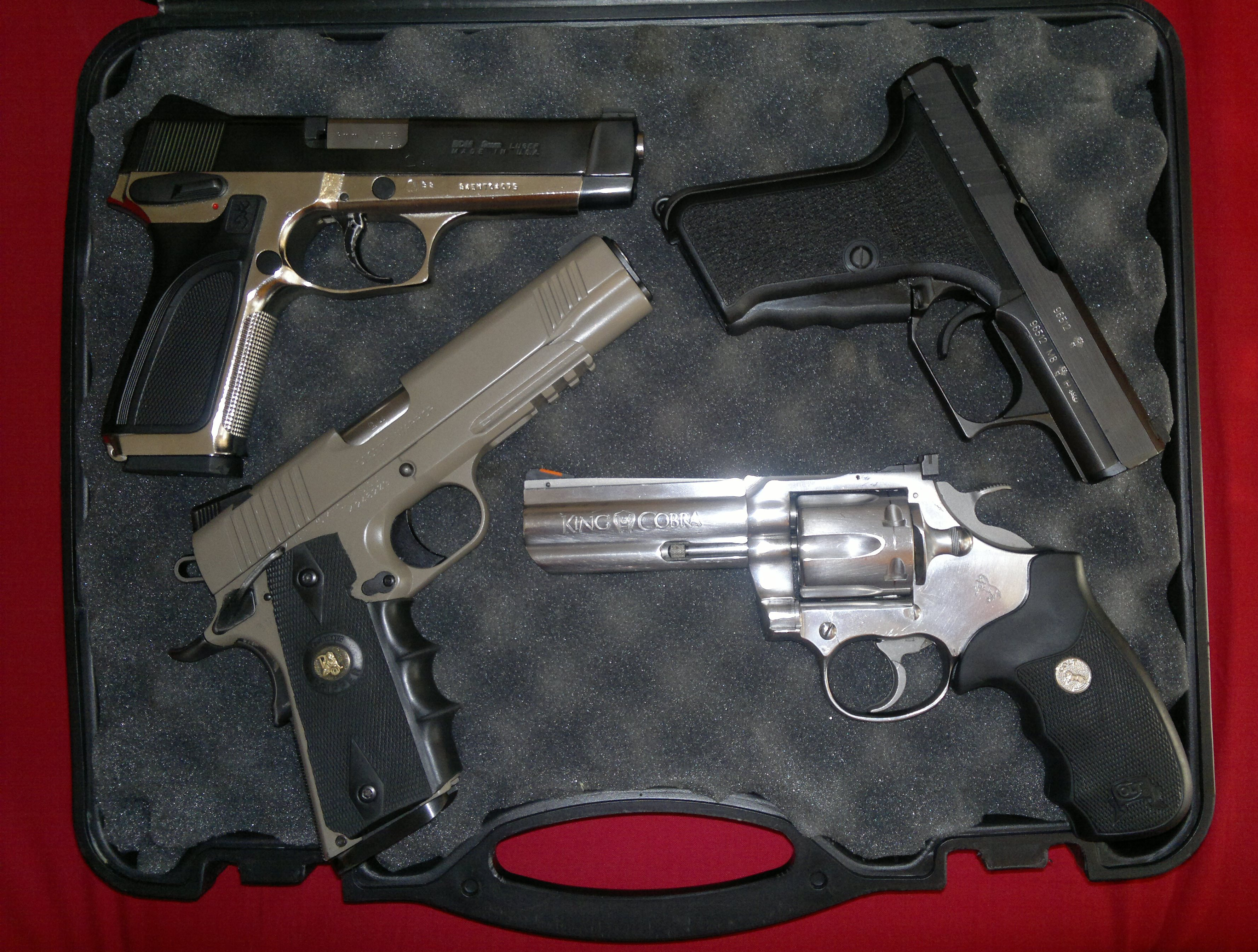 Browning BDM, HK P7M8, Colt King Cobra, Kimber Desert Warrior